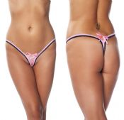 'Amorable' by Rimba Lingerie Black And Pink Ribbon Mini G-String Thong (R1328)